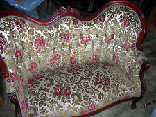 MATCHING PAIR KIMBALL CARVED FLORAL DESIGN REPRODUCTION VICTORIAN LOVESEATS