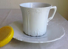 """Tirschenreuth Bavaria """"Baronesse"""" Coffee Cup & Saucer Porcelain White 3"""" Germany"""
