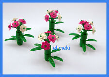 Lego City - 4x Plant 6 Point Stem Flowers and Bamboo - NEW - Friends Castle