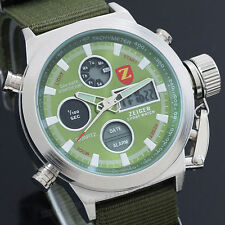 Zeiger Luxury Sport Mens Watch Analog Digital Alarm Chrono Military Green Canvas