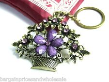 Vintage Antique Bronze Flower Purple Rhinestone Keyring Charm Handbag Keychain