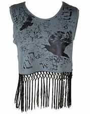 LIP SERVICE FRINGE HEM AND CROW PRINT GRAY BLACK WOMEN CROP TOP (XL)