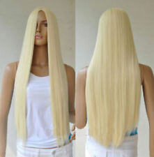 Womens Long Straight Full Wigs Floopy Hair Middle Part Blonde Cosplay Party Wig