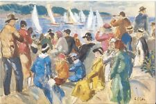 Postcard Gifford Beal Yacht Race Oil over pencil on paper Griswold Museum MINT