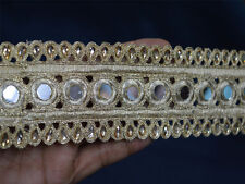 Trim by the Yard Indian Saree Border Mirror Trim Gold Lace