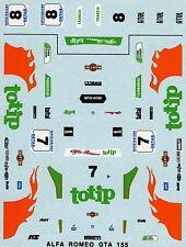 ALFA ROMEO 155 GTA N°7/8 TOTIP SUPERTURISMO 1992 DECALS 1/43