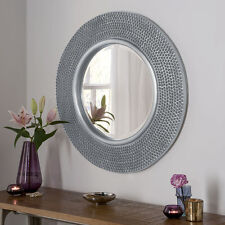 "Rome Large Round New Wall Mirror Modern Silver Frame Art Deco Studded 31"" Diam"