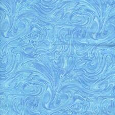 SPYROGYRA MARBLED SWIRL LIGHT BLUE Cotton Fabric BTY for Quilting Craft Etc
