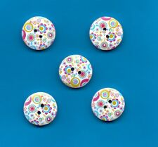 WOODEN FASHION BUTTONS CIRCLE DESIGN WHITE/RED/BLUE - 20mm  (W262/24)