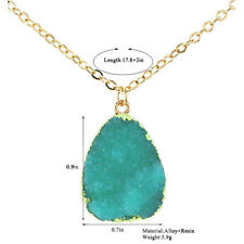 Colorful Natural Druzy Rock Crystal Pendant Necklace Quartz Clusters Geode Stone