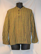 Striped Long Sleeved Grandad Shirt Hippy Festival Nepal Casual Loose Fit
