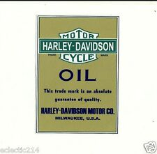 OIL CAN LABEL HARLEY DAVIDSON Vinyl Sticker Decal MOTORCYCLE RETRO
