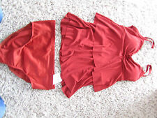 NEW MIRACLESUIT KATIE TANKINI SWIMMING SUIT WOMENS 10 RED  LOOK 10 LBS LIGHT