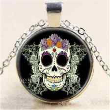 Flower Sugar Skull Cabochon Glass Tibet Silver Chain Pendant Necklace