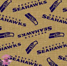 165003137- Seattle Sea Hawks Seahawks NFL Burlap Sports Fabric 6496 D Football