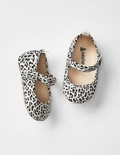 GAP Baby Girl Size 6-12 Months NWT Leopard Mary Jane Canvas Flats Shoes