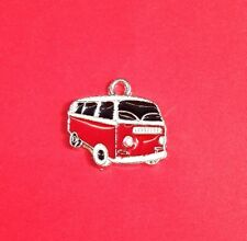10 VW Camper Van Charms Red Bus Hippy Retro Holiday Transport Jewellery Making