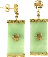 Natural Green Jadeite Jade Dangling 'Plaques' 14K Yellow Gold Earrings