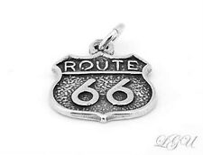 NEW STERLING SILVER ROUTE 66 CHARM PENDANT