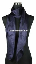 "New Extra Large Square 42""x42"" Luxurious 100% Pure Silk Scarf Shawl, Dark Blue"