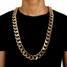 35 Inch 18K Gold Plated Thick Fashion Men Hip Hop 23mm Cuban Chain Link Necklace