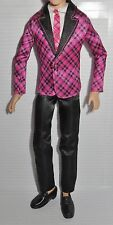 * OUTFIT ~ KEN DOLL FASHIONISTA PINK PLAID BLACK SATIN SUIT & TIE ENSEMBLE