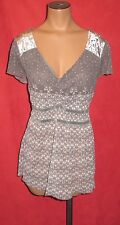 DKNY JEANS GRAY BABYDOLL SEMI-SHEER CAP-SLEEVE V-NECK TUNIC TOP LARGE