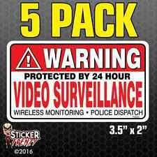 5 Pack WARNING Video Surveillance Stickers Home Alarm Decal Vinyl Window #FS032