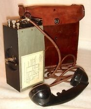 1943 WW2 U.S.ARMY MILITARY FIELD PHONE RADIO MODEL EE 8B LEND LEASE LEATHER CASE