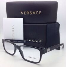 New VERSACE Eyeglasses 3198 GB1 55-17 140 Black Rectangular Frame w/ Demo Lenses