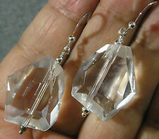 """Rock Crystal Quartz Faceted Nugget .925 Sterling Silver Earrings 2"""" Long"""