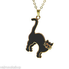 "BLACK ENAMEL CAT PENDANT ON GOLD PLATED 18"" CHAIN IN GIFT BOX GREAT PRESENT"