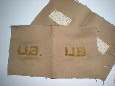 ORIGINAL WWII US ARMY OFFICER'S US COLLAR INSIGNIA IN BULLION  -  1 PAIR - RARE!
