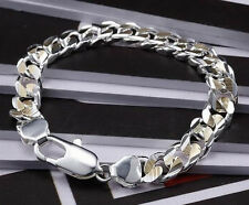 10MM Golden Color Seperation Strong Men Accessories Bracelet FH113, 925 Silver