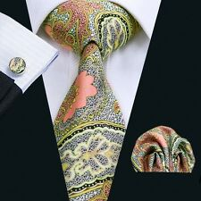 SN-1282 Mens Necktie Silk Tie Newest Printing Hanky and Cufflinks for Party