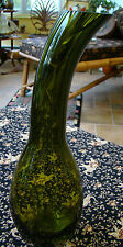 "Vtg 15"" Mid-Century Modernist Olive Green Heavy Art Glass Gourd Vase Eames Era"