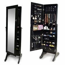 Black Wood Jewelry Armoire Cabinet Full Length Mirror Storage Floor Standing Box