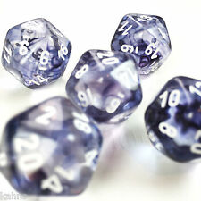 Set of 5 D20 Chessex Dice RPG D&D - Nebula (Clear) Black Swirls w/ White numbers