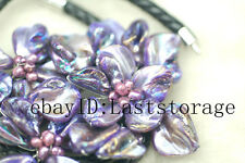 """shell flower deep purple &freshwater pearl rice necklace 18"""" wholesale  beads"""