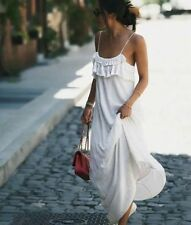 ZARA OFF WHITE LONG MAXI FLOWING DRESS WITH FRILLED BIB FRONT SIZE MEDIUM