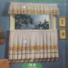 Kitchen Curtains Set Sears Chefmates Spring Flowers Lemon Yellow Tiers Valance