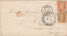 Lettre n°29 Paire Etoile 7 pour Elberfeld    Aus Frankreich 1868 Cover Brief