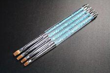 Nail Art UV Gel Pinsel DESIGNER PINSEL BLAU mit Straßsteinchen EDELST Gr.2