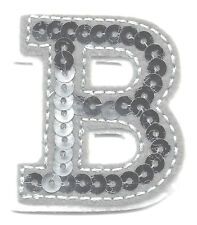 "LETTERS - Silver  Sequin  2"" Letter ""B"" - Iron On Embroidered Applique"