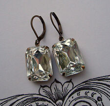 Vintage Art Deco Earrings Clear Crystal Victorian Bridal Jewelry - Bridesmaid