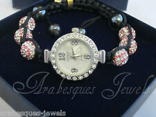BEST QUALITY SHAMBALLA PARIS BRACELET WATCH GENUINE PINK/WHITE CRYSTAL/HEMATITE