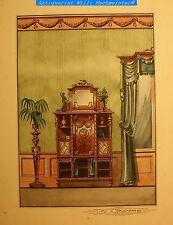 Empire Stil Vertico-Aquarellierter Tuschefeder Möbelentwurf-sign.K.Hausmann 1905