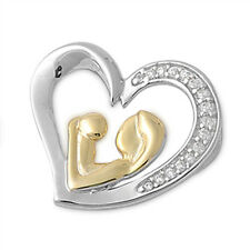 MOTHERS DAY GIFT FREE SHIP! Russian CZ Heart .925 Sterling Silver SOLID Pendant