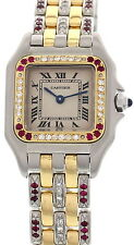 Ladies Cartier Panthere 18K Yellow Gold S/S Diamond Ruby Watch 1120
