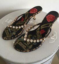 Beverly Feldman Diamond Bling Floral Embroidered Thong Kitten Heel Sandal Sz 8.5